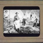 Black and white photograph shown in mounted paper slide. THe image features 5 individuals posed in an agricultural field. There is one female in the foreground wearing a white waist apron. The four males wear hats. THree males are standing and one of them is sitting in the right edge of the frame.